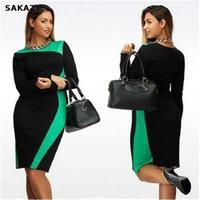 2017 Sakazy Casual Big Size 6xl Spring Bodycon Slim O Neck Elegant Women Party Dress Plus