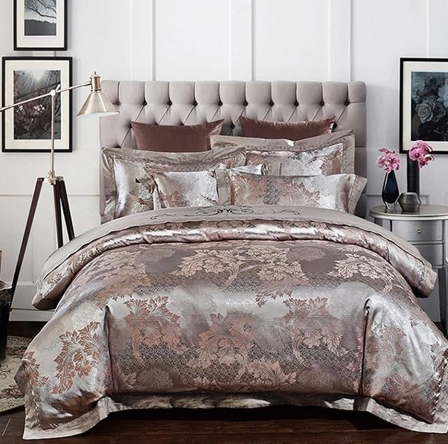 couvre lit satin de luxe Argent De Luxe de mariage ensemble de Literie Satin Jacquard  couvre lit satin de luxe
