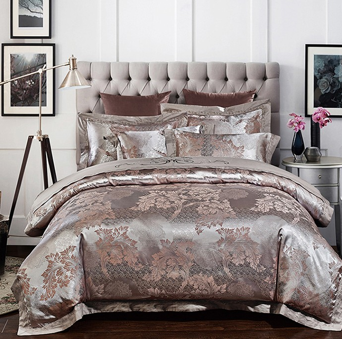 Silver Luxury Wedding Bedding Set Satin Jacquard Bedspread