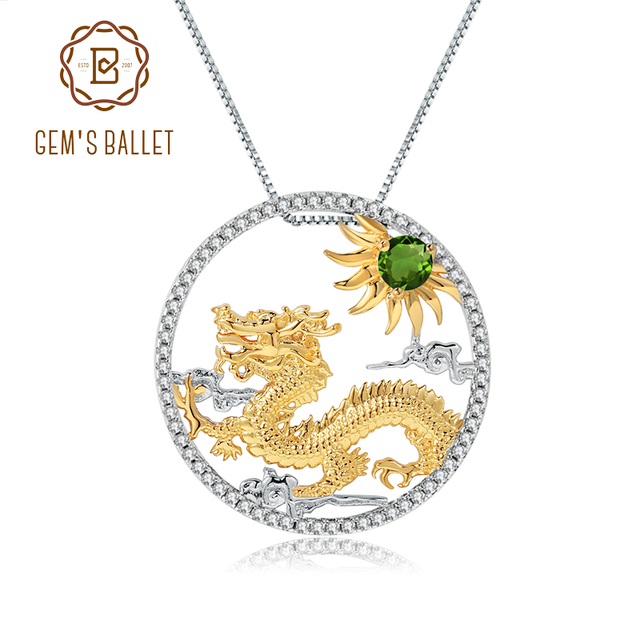 GEMS BALLET Natural Chrome Diopside Chinese Zodiac Jewelry 925 Sterling Silver Handmade Flying Dragon Pendant Necklace ForWomen