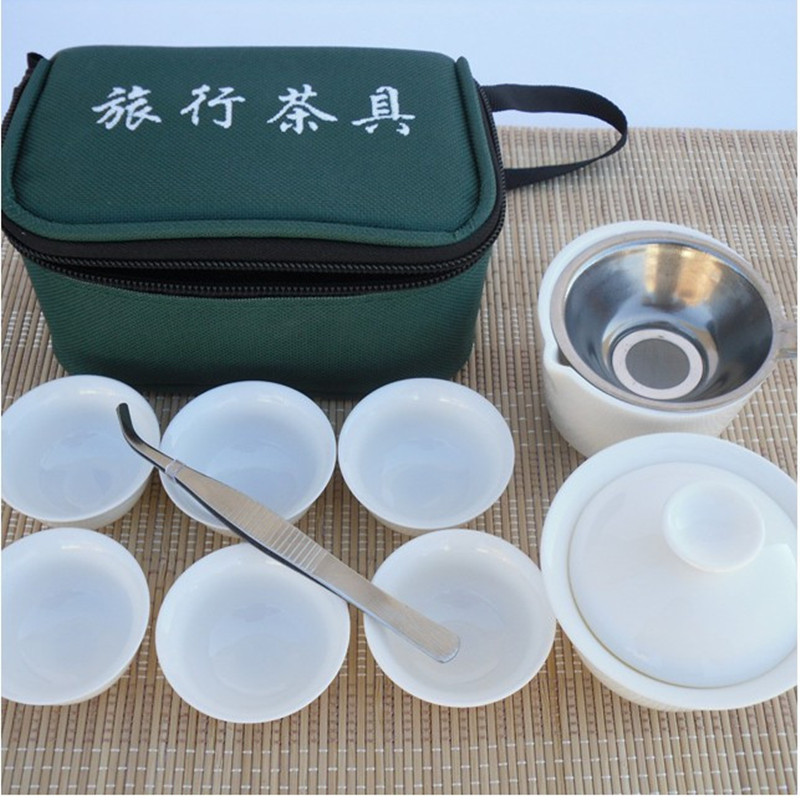 Free Shipping 11pcs Kung Fu Pure White Chinese Travel Tea Set Yixing Ceramic Portable Teacup Porcelain Tea Cup Teapot Ideal Gift
