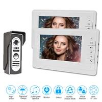 IP Video Doorbell Intercom with 7'' TFT Door Phone System 2x Montior and 1x Wired Doorbell Camera, Night Vision Home Intercom