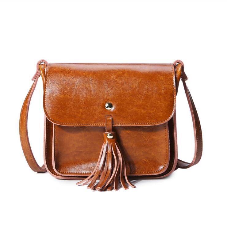 Women Messenger Bags Genuine Leather Cowhide Tassel Ladies Satchel Handbags Real Skin Casual Wax Oil Woman Crossbody Shoulder