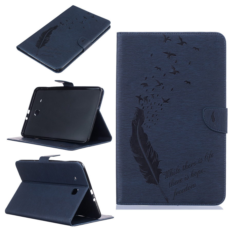 online retailer 81332 5e284 US $12.36 20% OFF|for Samsung Galaxy Tab E 9.6 inch T560 Case Tablet Cover  Leather Wallet Fold Stand Flip Magnet Capa Funda Coque Feather Pattern-in  ...