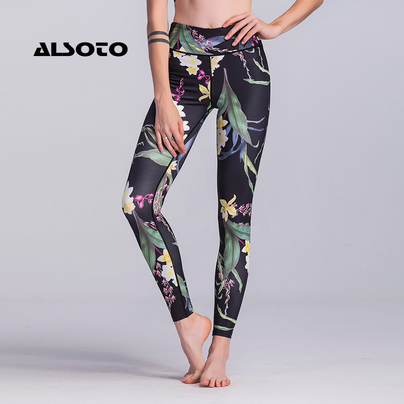 ALSOTO Women Running Legging Slimming Sport Pants High Waist Compression Pants Gym Clothes Sexy Running Floral Print Tights