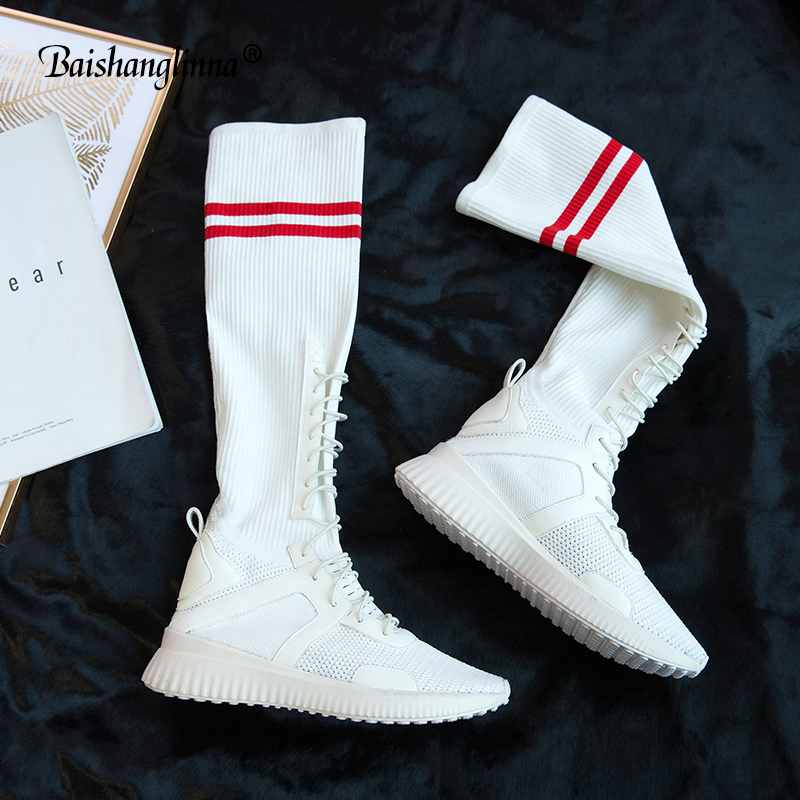 Baishanglinna High Boots Above Knee Fashion Women Stretch Sock Long BootlES Square Toe Lace Up Thick High Heels Black Shoe Lady