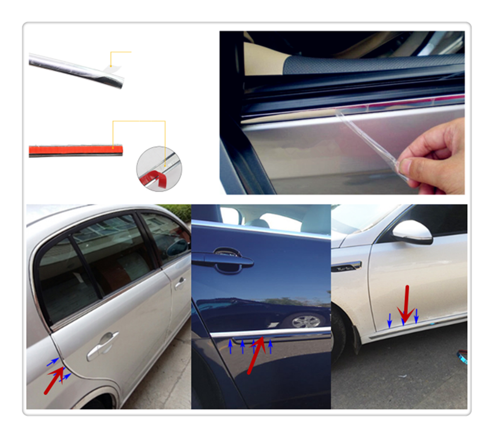 Car shape <font><b>chrome</b></font> decorative bright strip silver multi-function sticker for <font><b>Peugeot</b></font> 206 307 406 407 207 <font><b>208</b></font> 308 508 2008 3008 image