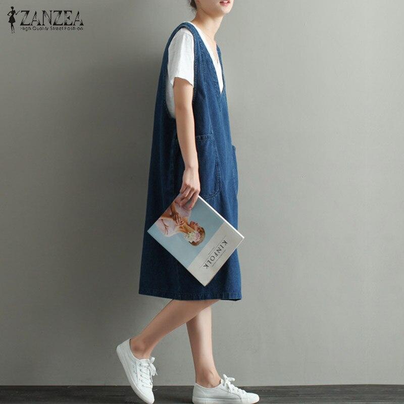 02c8492d9d ZANZEA Hot Sale Women 2018 V Neck Vintage Denim Dress Knee Length Sexy  Sleeveless Midi Dresses Casual Loose Plus Size Vestidos-in Dresses from  Women s ...