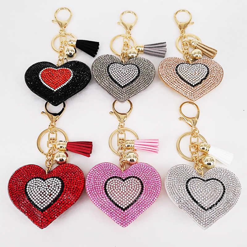 ใหม่น่ารัก 6 สีคู่หัวใจพวงกุญแจพู่จี้ของขวัญพวงกุญแจกระเป๋าถืออุปกรณ์ตกแต่ง