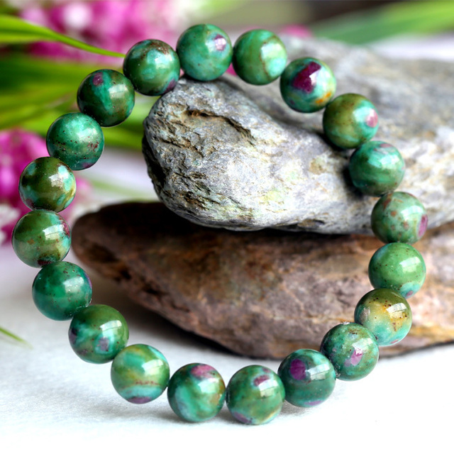 Natural Genuine Red Green Ruby Fuchsite Finished Stretch Bracelet Round Loose beads Jewelry DIY 04102