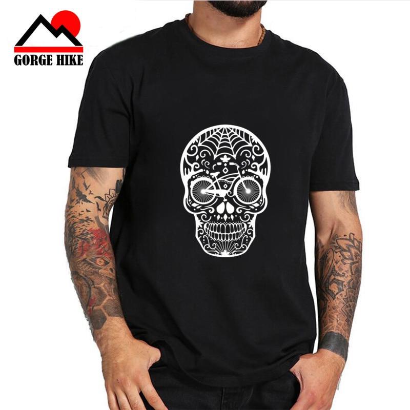 Bicycle Skull Face Mens Funny Cycling T-Shirt Cyclist Cycle DH MTB Racer Bike