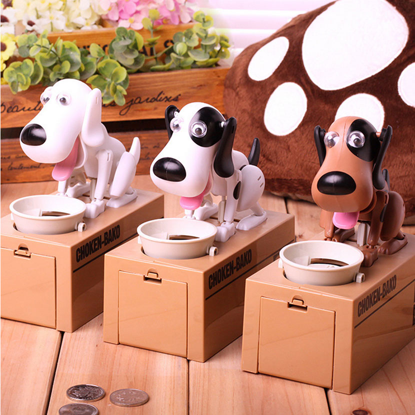 Adorable Hungry Robotic Dog Coin Bank Mechanical Save Money Safe Box Collection Piggy Bank Funny Gift For Children Tirelire cool funny bomb shape coin bank w sound