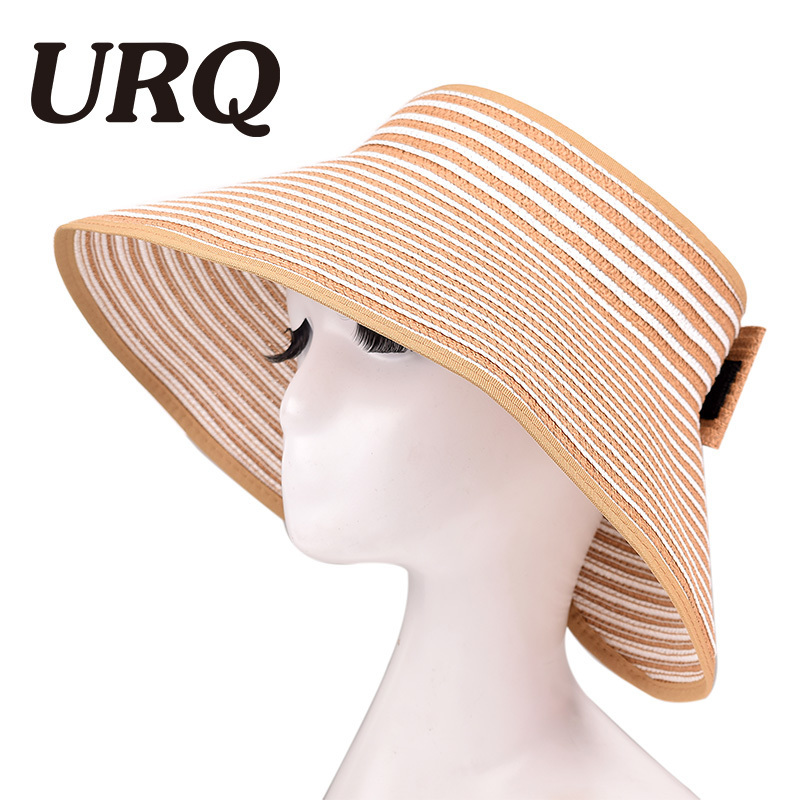 Spring Summer hats for women Foldable Wide Large Sun Hats For Woman Girls Striped Straw Hats Beach ZZ4068 image