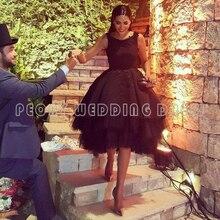 Mode Kurze Schwarze Kleid 2016 Knielangen Perlen Ballkleid Prom Kleider Backless Cocktail Kleider Mädchen Party Kleider RM51