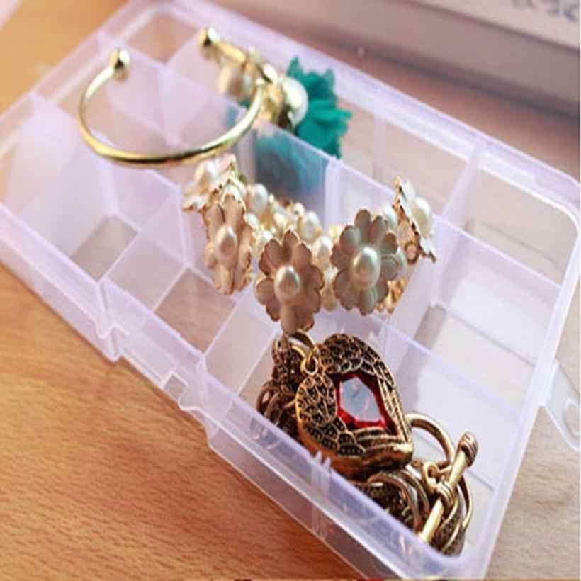 Plastic storage box case Holder Adjustable Container Pills Jewelry Nail Art Tips 10 Grids boite de rangement #TX4