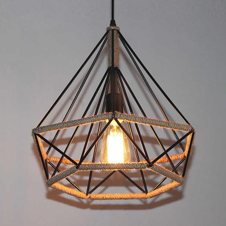 Винтажные подвесные светильники в виде птичьей клетки веревка Алмазная железная Минималистичная Ретро подсветка скандинавский Лофт Светодиодный лампа в форме пирамиды металлическая клетка столовая