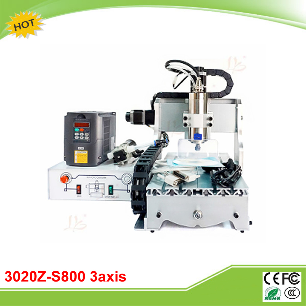 CNC 3020Z-S800 3axis mini CNC Router with 800W water cooling spindle engraver cheap price mini cnc router 2520t 3 axis 200w spindle for new user or school tranining