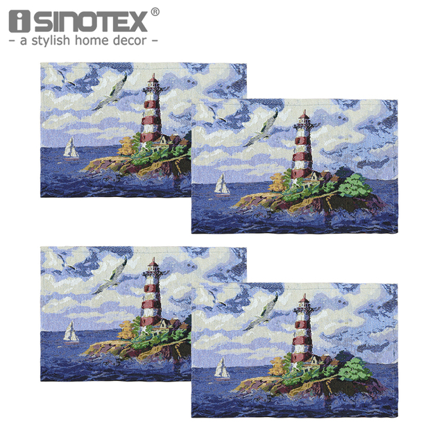 4PCS Table Mats Lighthouse Printed Navy Blue Color 33x46cm Cotton Coasters  Pads Coffee Cup Napkin Placemats