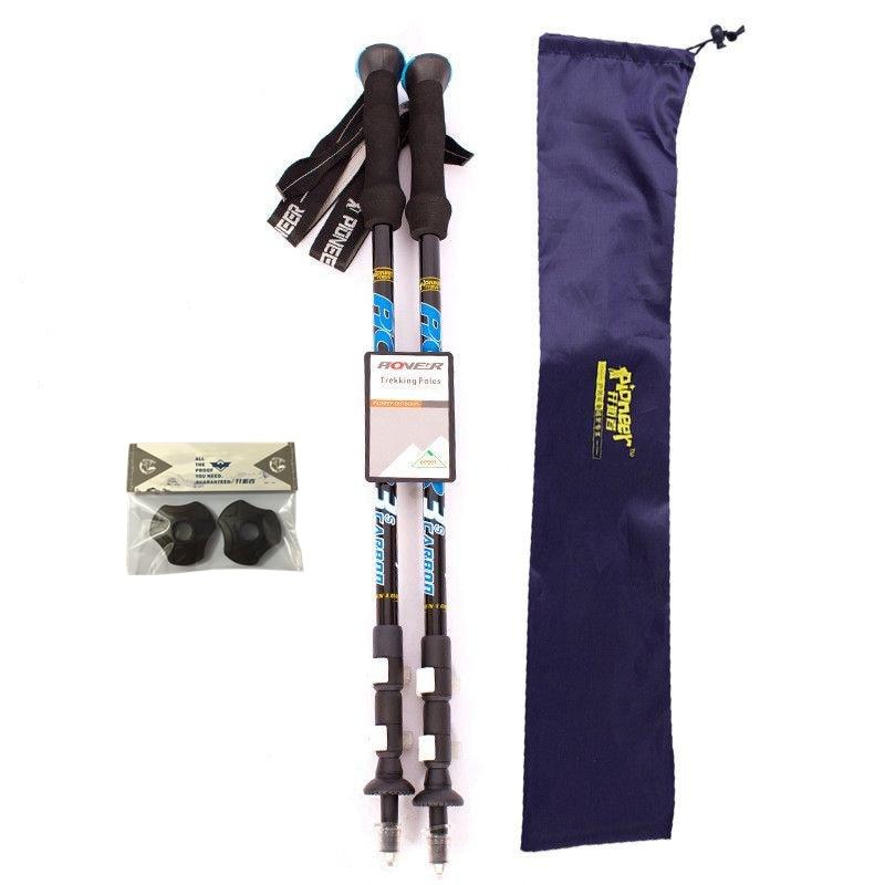 2pcs lot External Fast Lock Trekking stick carbon walking telescopic stick 62cm 135cm 24 4 to