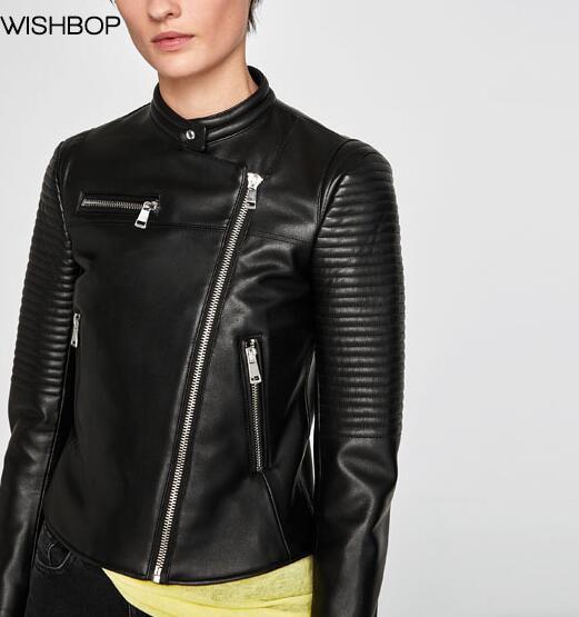 Poches Zip Cuir Femme Détail Mode Renforcé Longues 2018 Col En Faux Noir Motard Haut Veste Manches Wishbop Zippée Poignets wfUTqx