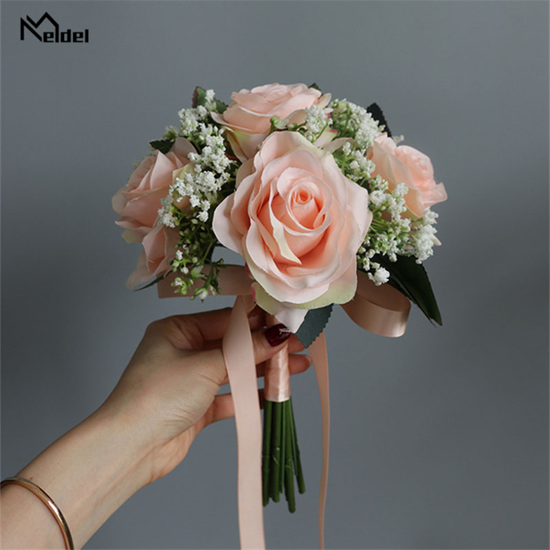 Meldel Bride Rose Bouquet Wedding Supplies Bridesmaid Rose Babysbreath Bouquet Flower Arrangement DIY Home Party Prom Decoration