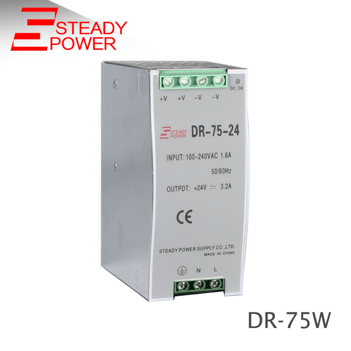 DR-75-24 75W 24v aluminum shell 24 Volt din rail power supply 75w 24v 3 2a din rail model ce approved 75w dr 75 24 power supply rail din 24v with wide range input high quality