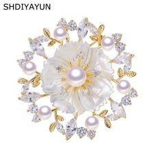SHDIYAYUN 2019 Pearl Brooch For Women Zircon Shell Flower Brooches Pins Natural Freshwater Fine Jewelry Seashell