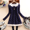2016 Winter Lace Neck Women Long Blouse Cotton and Fleece Lined Maternity Tops Thick Warm Peter Pan Collar