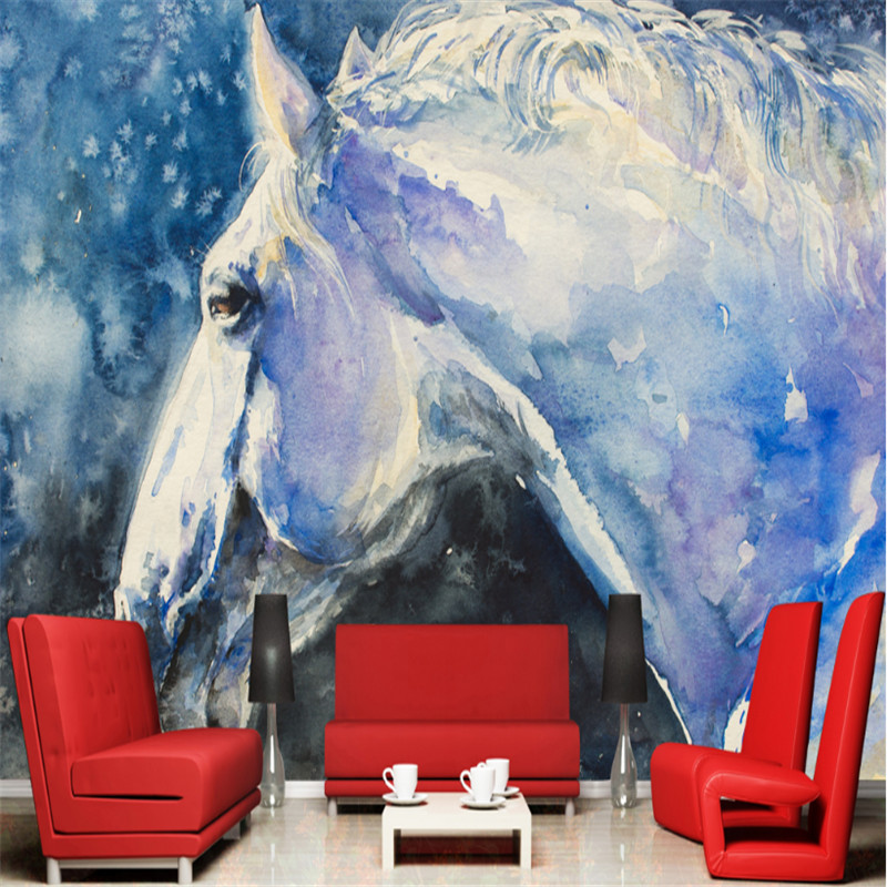 Non Woven Custom Modern Wallpaper 3d Photo Wall Mural Wall Papers 3d Animal Oil Painting Horse Wall Home Decor Wallpaper Mural custom 3d wallpapers mural non woven fabric 3d room wallpaper forest road 3 d space background wall photo 3d wall home decor