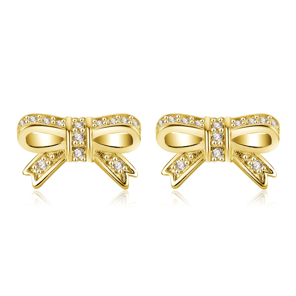 Lovely stainless bow design stud fashion earrings with CZ clear crystals
