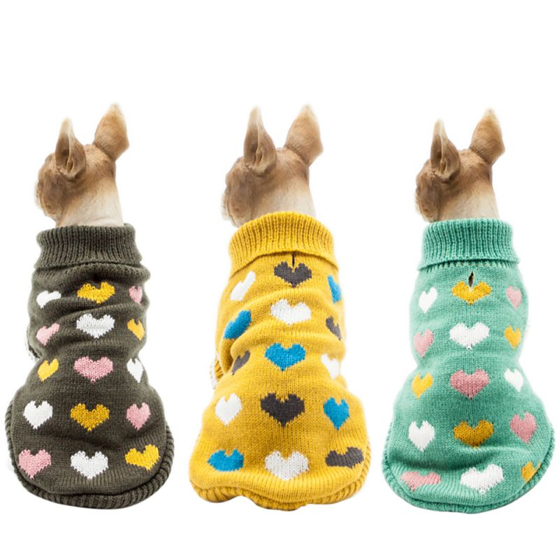 2018 Pet Cute New Sweater Autumn And Winter Models Multi-Color Heart Design Protect Two Feet Dog Warm Clothing