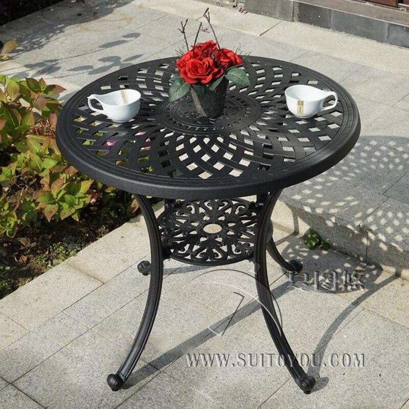 Table en fonte d'aluminium pour chaise de jardin mobilier d'extérieur durable avec des trous de parapluies