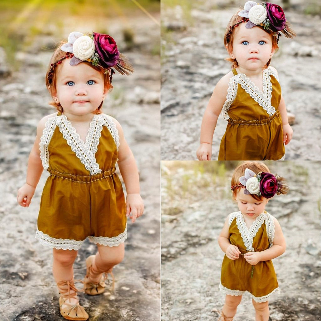 2fb50776be93 Newborn Kids Children Girl Rompers Cute Baby Girls Strappy Lace One ...