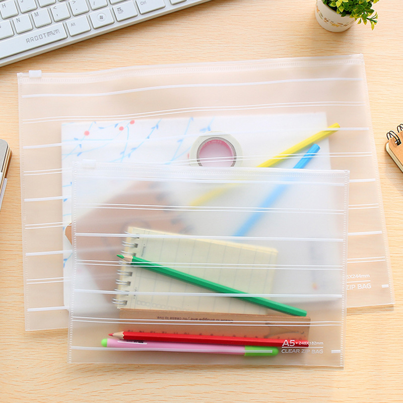 Korea Stationery Environmental Protection Simple A4A5 Transparent Frosted PP Bag Students Storage Ticket Data File Storage Bag