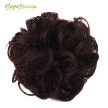 MapofBeauty термостойкий эластичный шиньон кудрявый пучок коричневый черный цвет натуральный шиньон синтетические волосы для наращивания