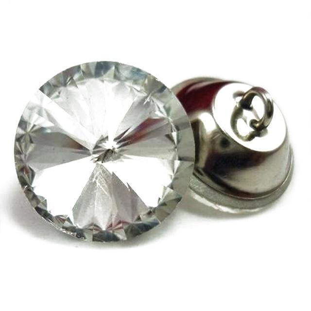 משלוח חינם 50 יח'\חבילה 14mm ~ 30mm Shinning ריינסטון כפתורי קריסטל, קריסטל זכוכית נעצים, ספה תפירת כפתורים, ריפוד
