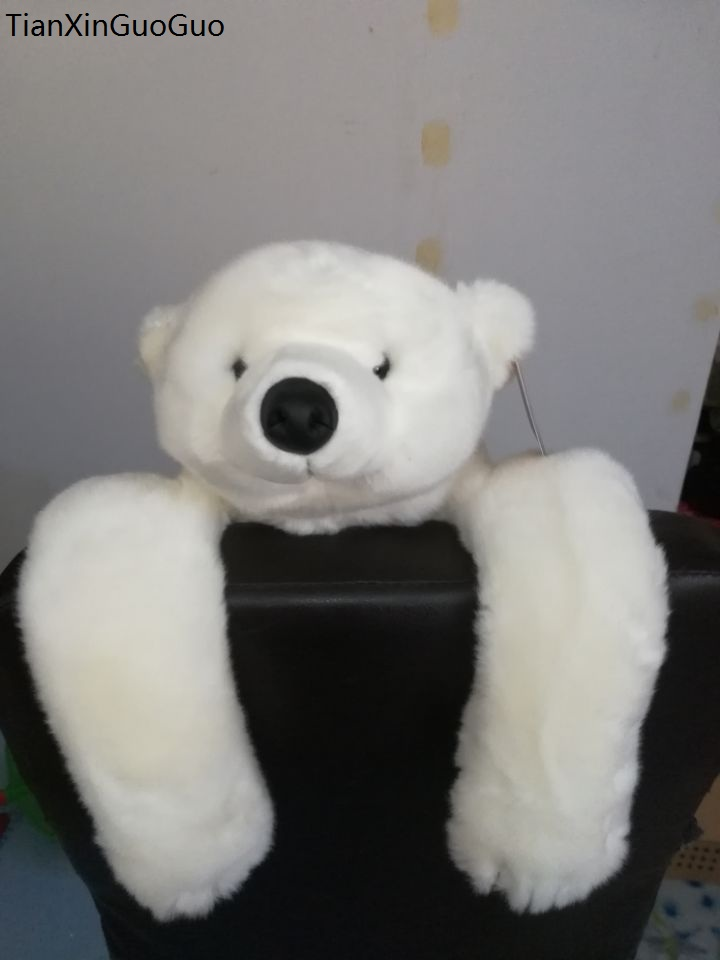 large 48cm lovely prone polar bear plush toy white bear soft doll throw pillow toy Christmas gift s2222 the lovely bow bear doll teddy bear hug bear plush toy doll birthday gift blue bear about 120cm