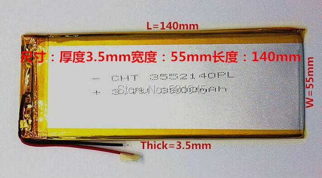 Per tablet pc 3.7 pollice MP3 MP4 [3555140] 55mm * 140mm 3.7 V 3800 mah (batteria agli ioni polimeri di litio) li-ion Spedizione Gratuita