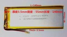 Para tablet pc de 3.7 pulgadas MP3 MP4 [3555140] 55mm * 140mm 3.7 V 3800 mah (batería de iones de litio polímero) li-ion Envío Gratis