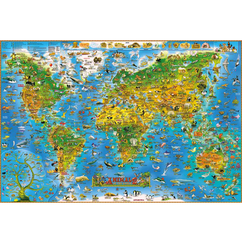 4 Type 1000 Piece Animals World Map Jigsaw Puzzle Toy 1000 Pieces Fish Dog lovely Wooden Paper Puzzles New Year Gift for Kids puzzle 1000 восточные пряности кб1000 6829 page 4
