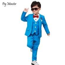 Children Performance Clothes Brand Boys Formal Wedding Birthday Party Suits Prince Kids Blazer Vest Pants ceremony Costumes F158
