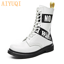 AIYUQI 2019 new genuine leather women Martin boots lace up cross-tie platform ankle motorcycle