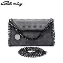2017 Estelle Wang Flap Pu Messenger Bags Women Fashion Rivet Chain  Crossboday Handbag Punk Shoulder Bag ceb39ee4b73d
