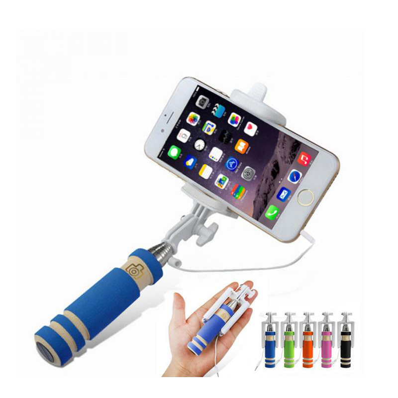 Mini Extendable Handheld Selfie Stick Wired Remote Shutter Monopod for iphone 6 6s 5 5s 4 4s Samsung xiaomi huawei oppo wired camera remote control shutter release for iphone 4s 4 5 black white 3 5mm jack
