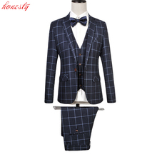 (Jackets+Pants+Vest ) Men Plaid Dress Suit  Brand Formal Fashion Business Plus Size Costume Wedding Party Homme Blazer SL-E520