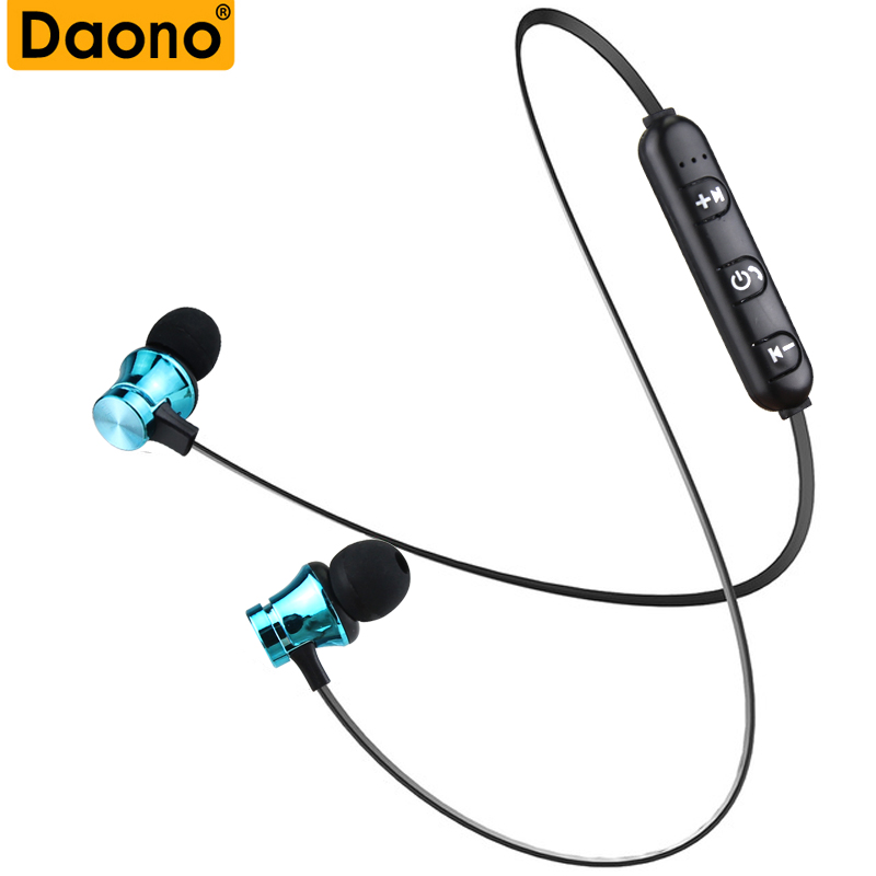 DAONO Metal Sports Bluetooth Wireless Earphone With Mic Magnetic in ear Magnetic Bluetooth Earbuds Headset For Mobile Phone