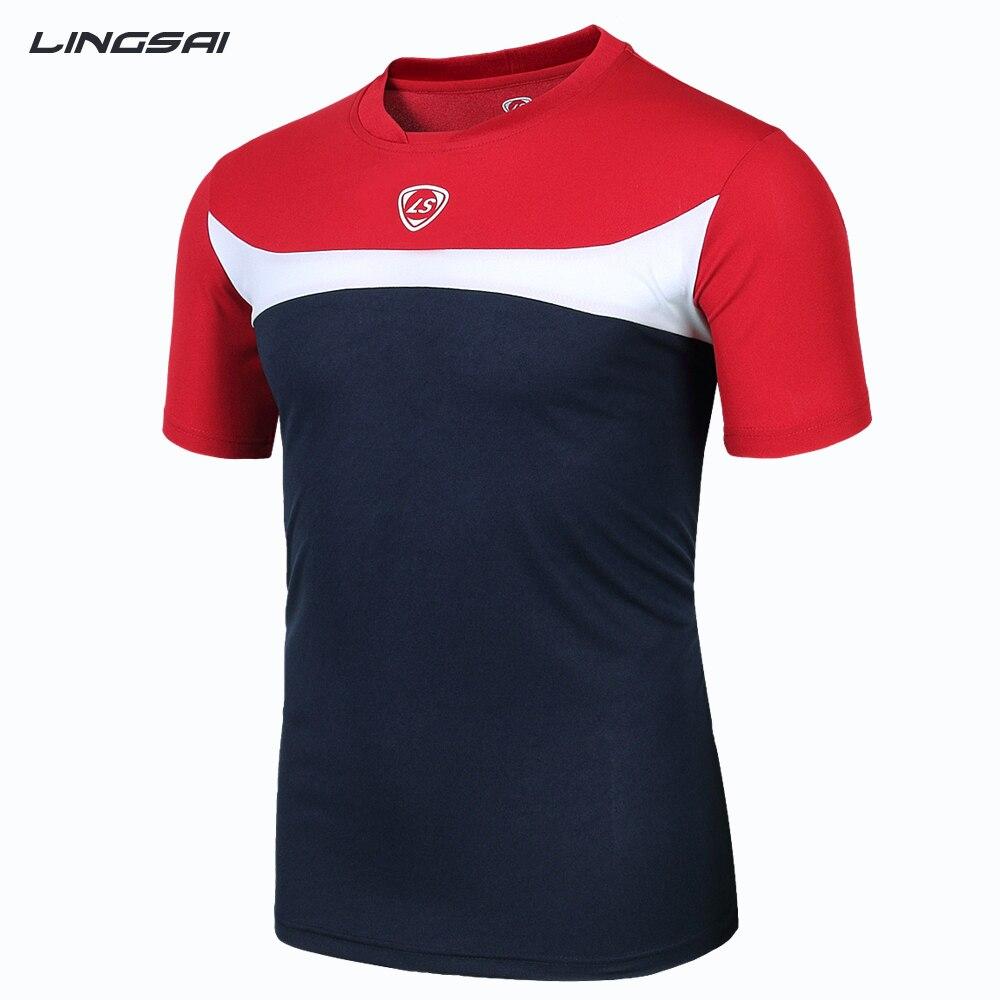 Design t shirt soccer - Lingsai Summer Style High Quality T Shirt Men 2017 New Brand Sales Camisas Quick Dry Slim