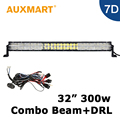 Auxmart 32 inch 7D LED Light Bar 300W Cree Chips LED Bar Fit Camper Offroad Vehicle 4x4 Truck RZR Cross Daytime Running Lights