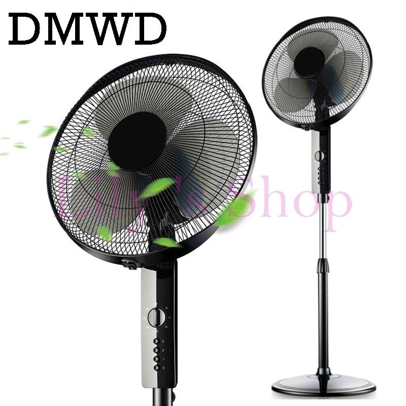 DMWD household electric fan stand fan head shaking mute student dormitory timed fan Desktop timing fans EU US plug adapter solar powered head shaking cute hula couple desktop toy