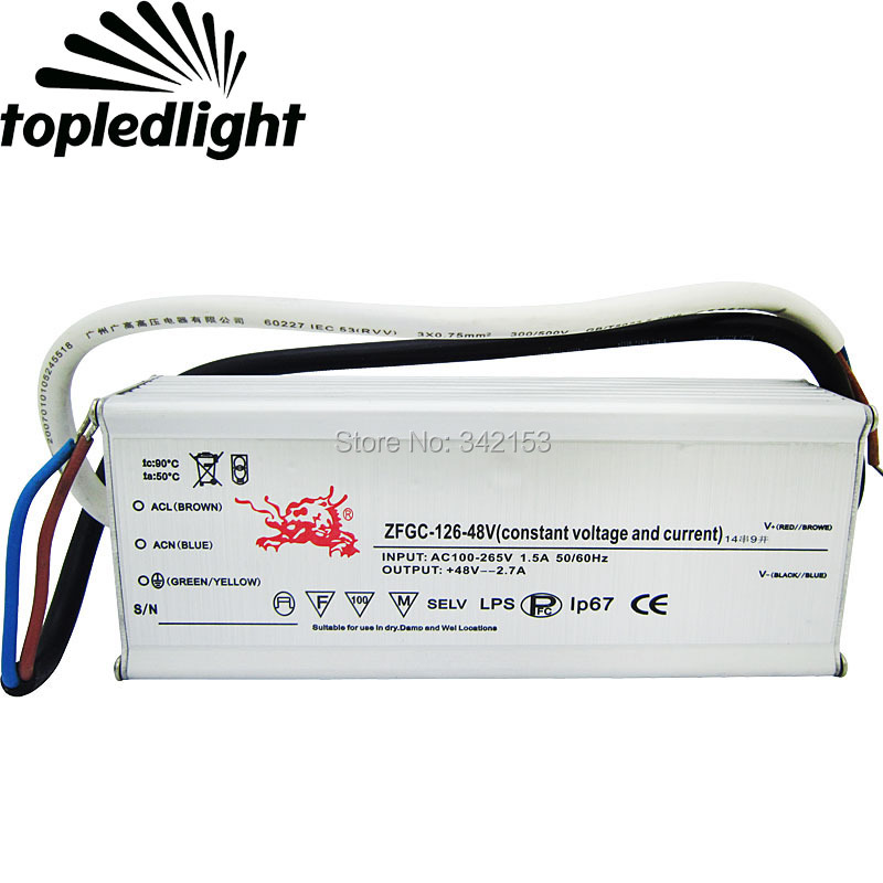 IP67 Waterproof Lighting Transformers 38-48V 2.7A 126W High Power Constant Current Led Driver For DIY Lamp Light Power Supply 90w led driver dc40v 2 7a high power led driver for flood light street light ip65 constant current drive power supply